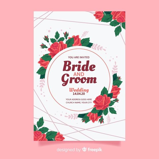 フラットなデザインの結婚式の招待状のテンプレート 無料ベクター