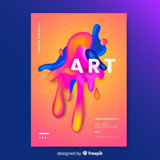 Дизайнерская обложка с красочным эффектом жидкости Бесплатные векторы