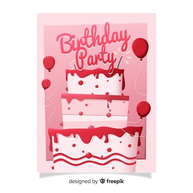 ケーキと平らな誕生日の招待状のテンプレート 無料ベクター