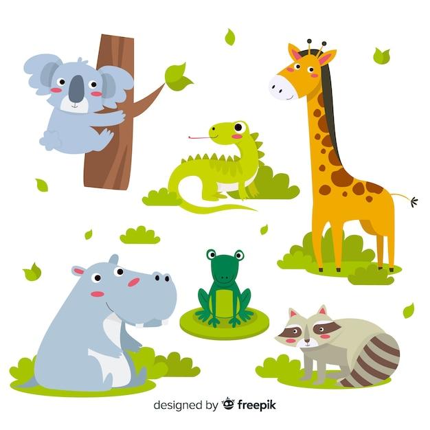 Коллекция разных милых животных Бесплатные векторы
