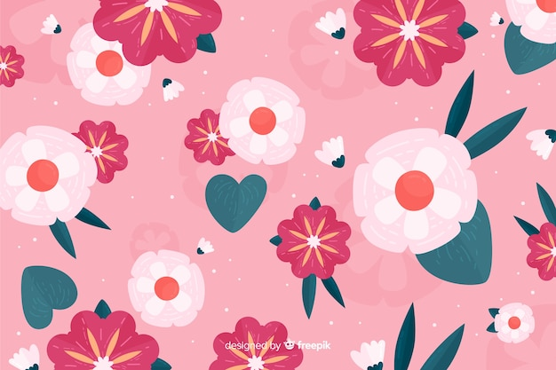 Плоская красивая растительность на розовом фоне Бесплатные векторы