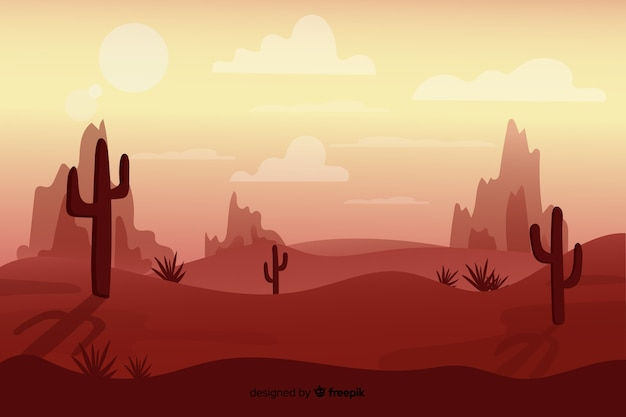 Минималистский пейзаж пустыни Бесплатные векторы