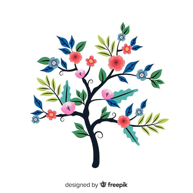 フラットなデザインでカラフルな花の枝 無料ベクター