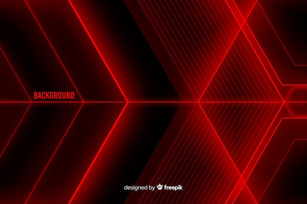 赤い光の図形の背景の抽象的なデザイン 無料ベクター