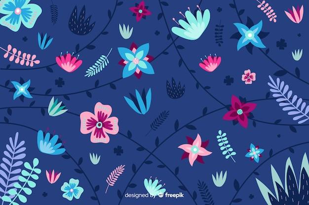 青色の背景に平らな美しい植生 無料ベクター