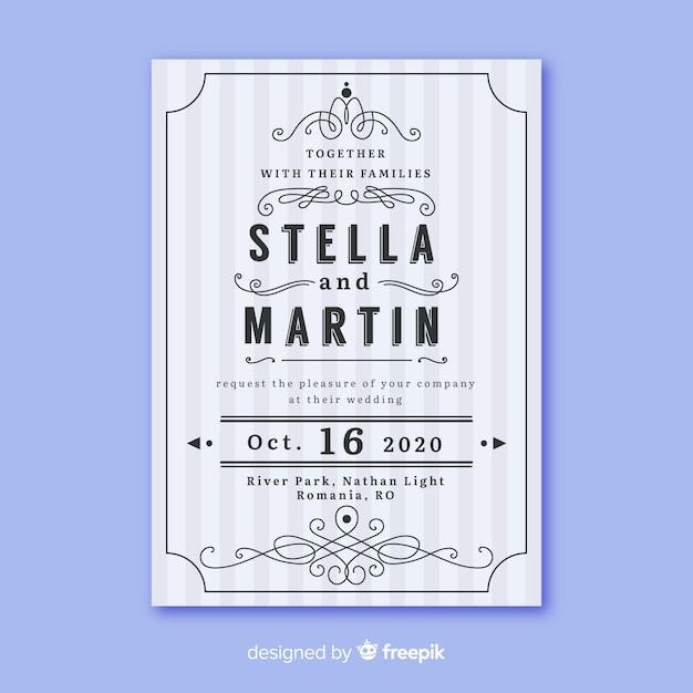 レトロなデザインの結婚式の招待状のテンプレート 無料ベクター