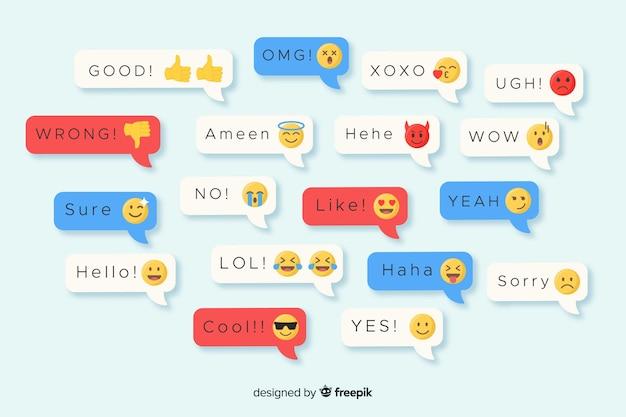 Разноцветные плоские дизайнерские сообщения, содержащие смайлики Бесплатные векторы
