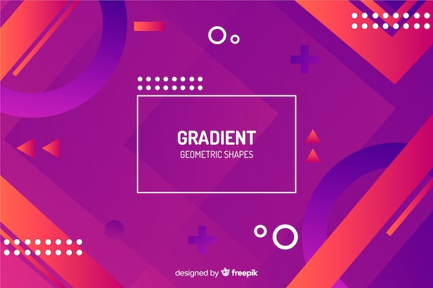 グラデーションメンフィスと幾何学的図形の背景 無料ベクター