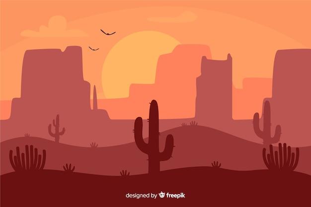 Пустынный пейзаж на рассвете Бесплатные векторы