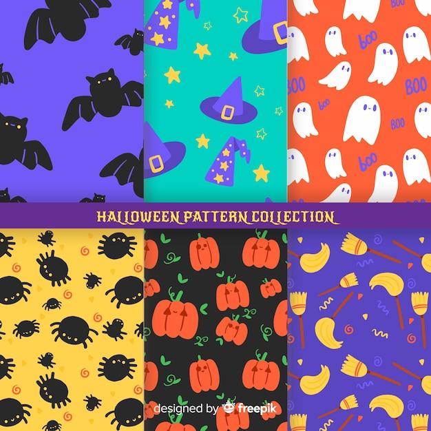 ハロウィーンパターンコレクションのフラットなデザイン 無料ベクター