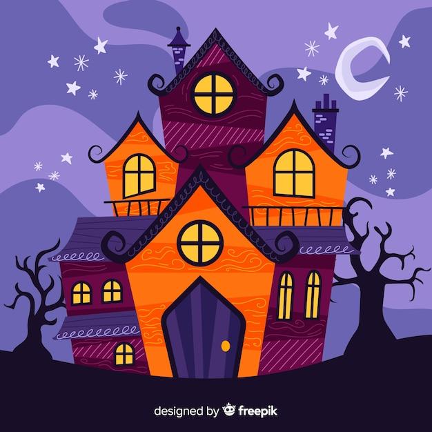 カラフルな手描きのハロウィーンの家 無料ベクター