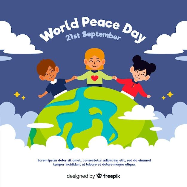 Плоский дизайн мирного дня с детьми Бесплатные векторы