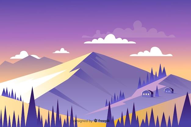 Красивый пейзаж горы и домики Бесплатные векторы