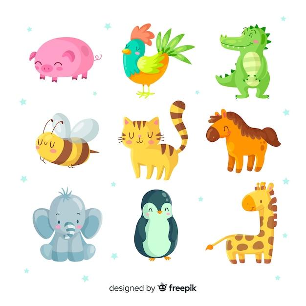 Иллюстрированный набор милых животных Бесплатные векторы