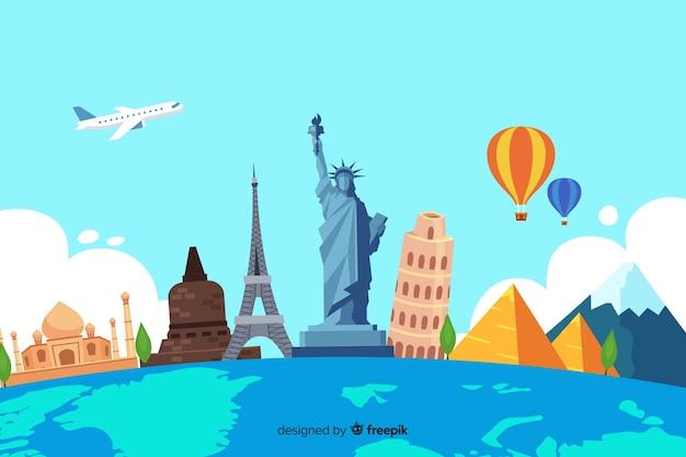 Плоский дизайн день туризма с достопримечательностями Бесплатные векторы