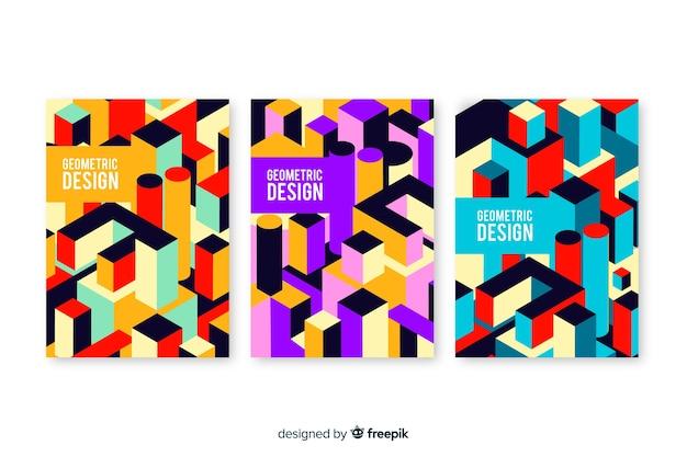 幾何学的デザインがコレクションをカバー 無料ベクター