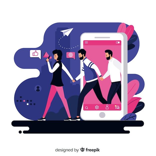 手を繋いでいるフラットなデザインのキャラクターは、友人の概念を参照してください 無料ベクター