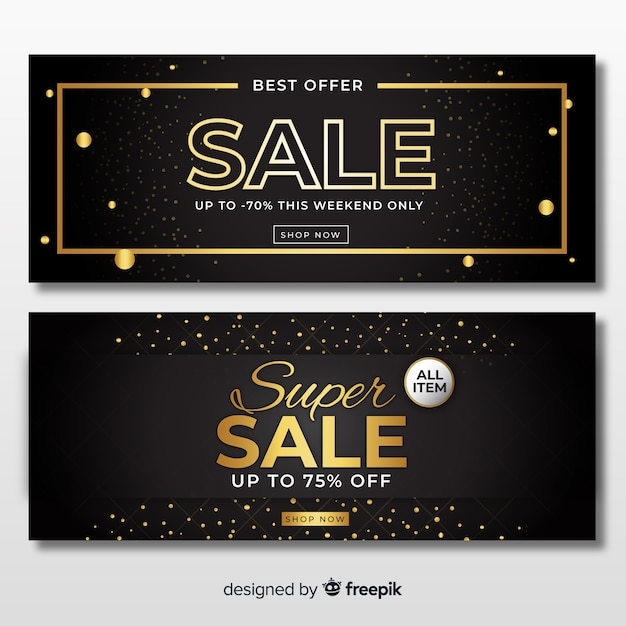 Золотой баннер продаж Бесплатные векторы
