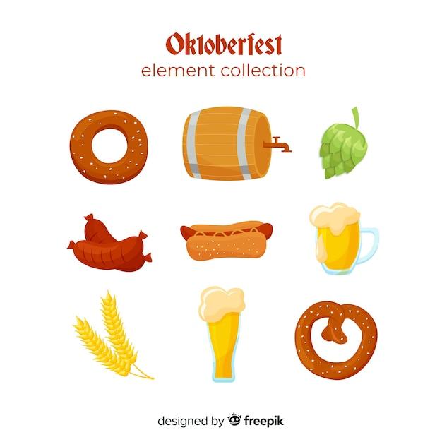 Плоский дизайн коллекции элементов октоберфест Бесплатные векторы