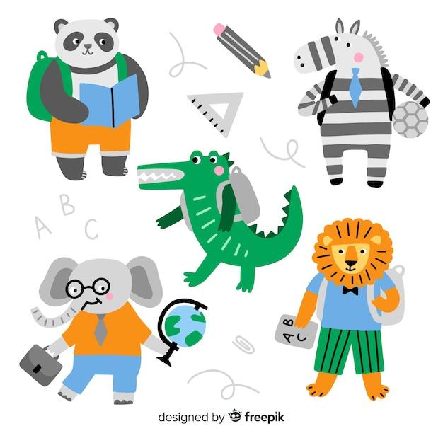 学校に戻る動物のコレクション 無料ベクター