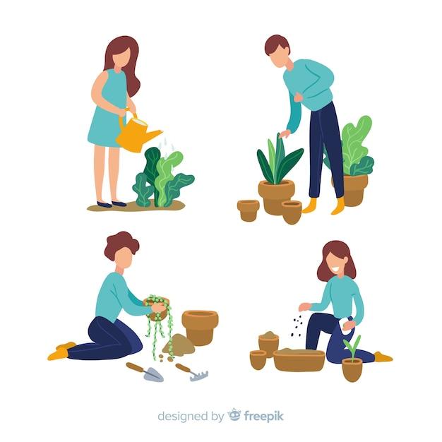 植物の世話をする人 無料ベクター
