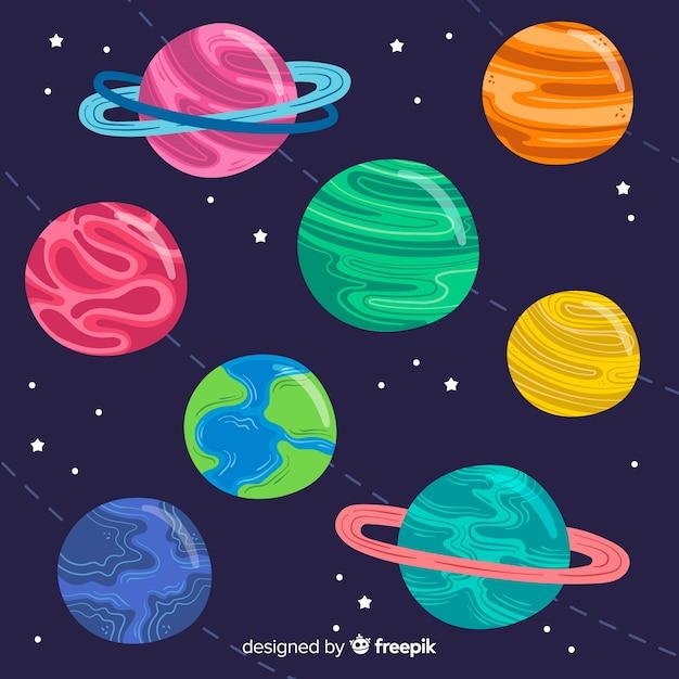 Коллекция рисованной планеты Бесплатные векторы