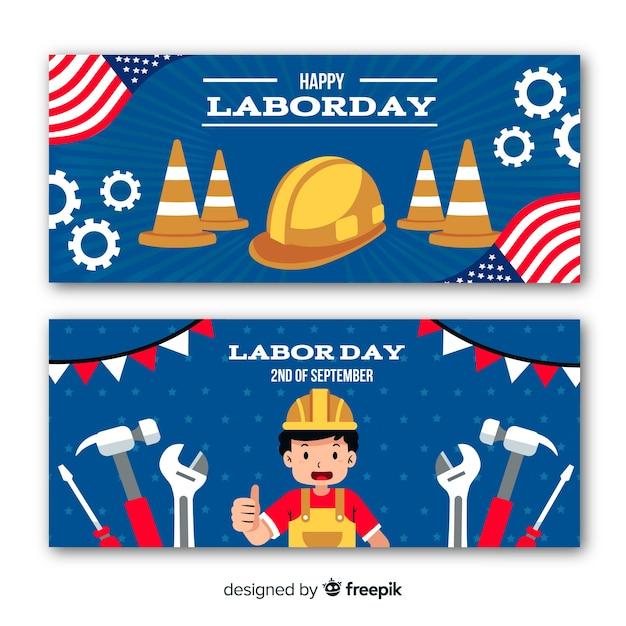 アメリカのバナーでフラットなデザインの労働者の日 無料ベクター
