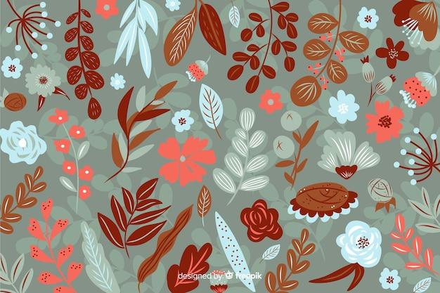 セピア色の色合いで平らな美しい花の背景 無料ベクター