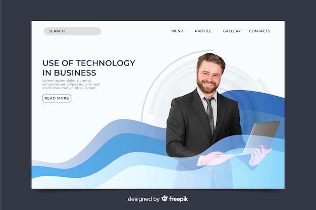 Формальная технология целевой страницы с фото и волнами Бесплатные векторы