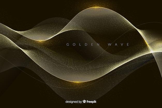 抽象的な黄金波背景 無料ベクター