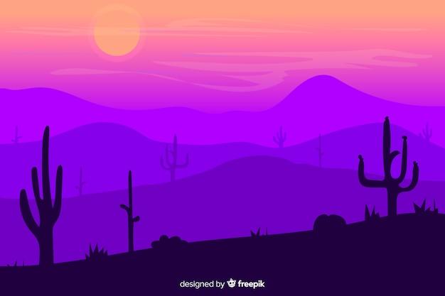 Пустынный пейзаж с красивыми фиолетовыми градиентными оттенками Бесплатные векторы