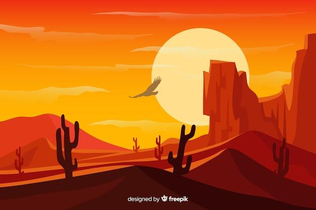山と砂漠の砂丘の風景 無料ベクター
