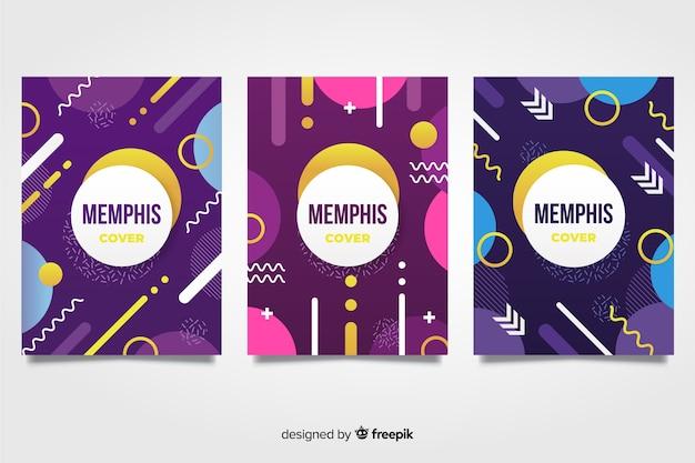 Мемфис дизайн обложки коллекции Бесплатные векторы