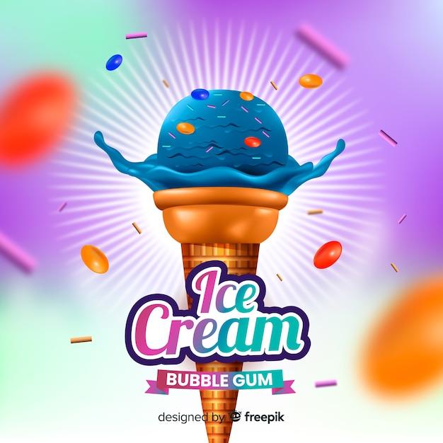 Реалистичная реклама голубого мороженого и жевательной резинки Бесплатные векторы