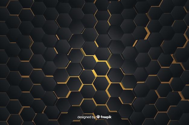 黄色のライトと抽象的な幾何学模様 無料ベクター