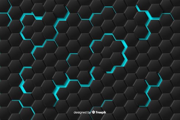 青いライトと抽象的な幾何学模様 無料ベクター