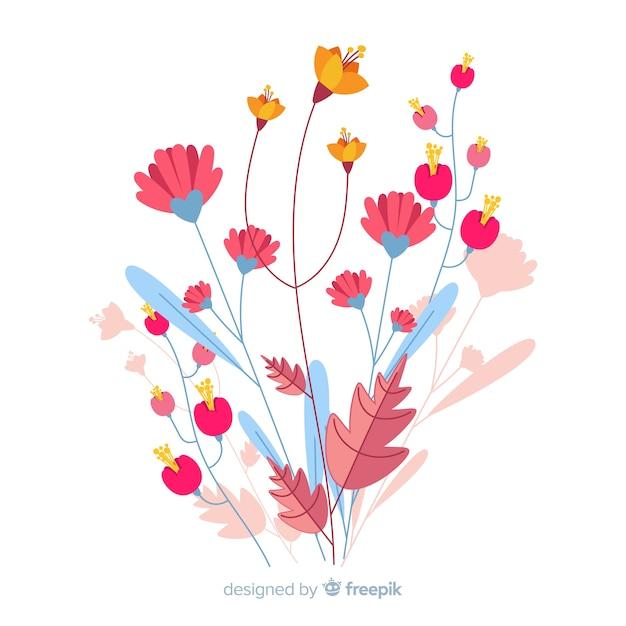 フラットなデザインの春の花のピンクの色合い 無料ベクター
