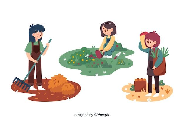 Плоский дизайн сельскохозяйственных рабочих иллюстрируется Бесплатные векторы