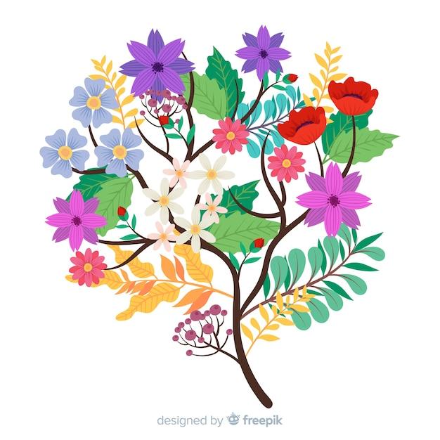 さまざまな色のエレガントな花の花束 無料ベクター