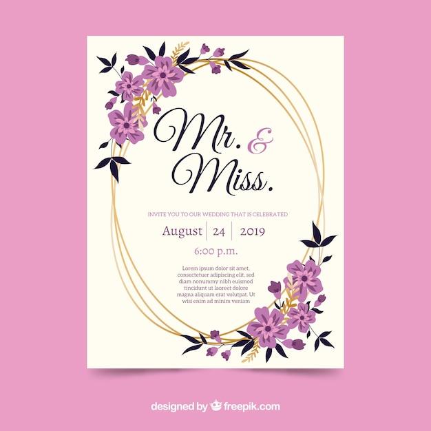 Красивый цветочный шаблон свадебного приглашения Бесплатные векторы