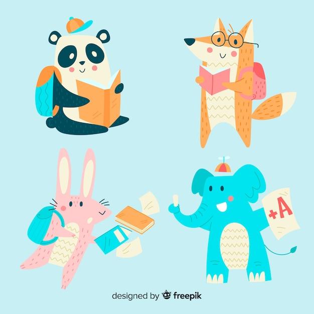 Снова в школу коллекция диких животных Бесплатные векторы
