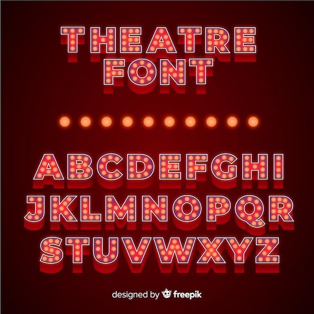 Роскошная театральная лампочка с алфавитом Бесплатные векторы