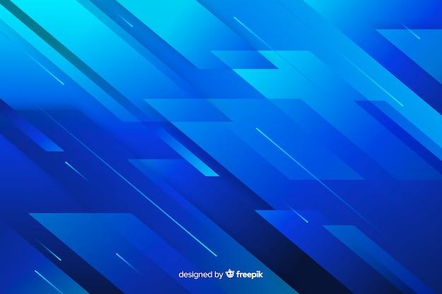 抽象的な形と線の青い背景 無料ベクター