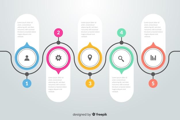 Плоский дизайн инфографики шаги Бесплатные векторы