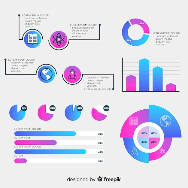 Коллекция элементов градиента инфографики Бесплатные векторы