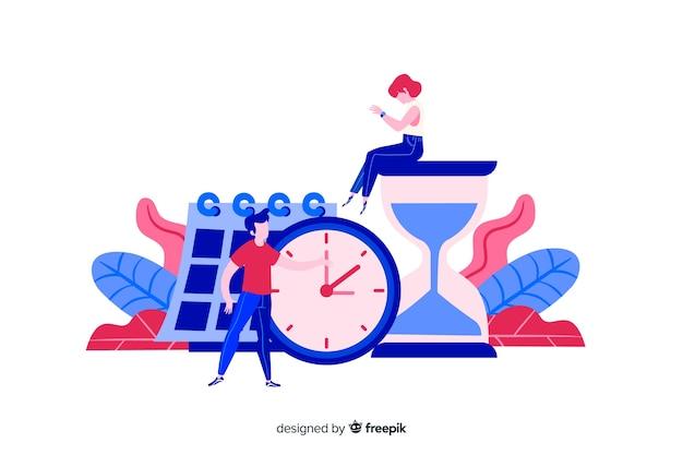 時間を管理するフラットなデザインキャラクター 無料ベクター