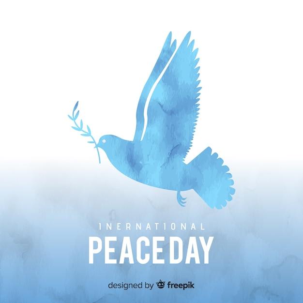 水彩鳩と平和の日の概念 無料ベクター