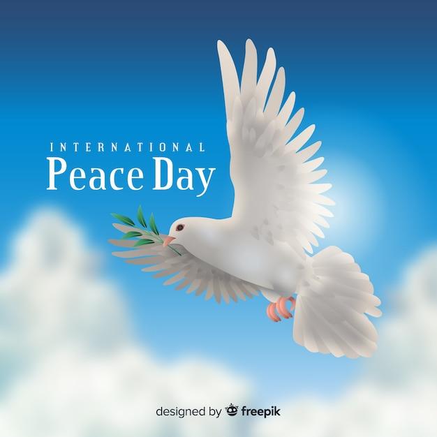 Концепция дня мира с реалистичным голубем Бесплатные векторы