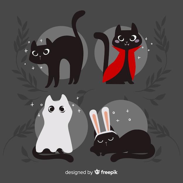 Симпатичная рисованная кошка на хэллоуин Бесплатные векторы