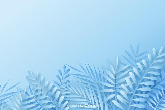 青の色合いで紙のスタイルでモノクロの葉の背景 無料ベクター